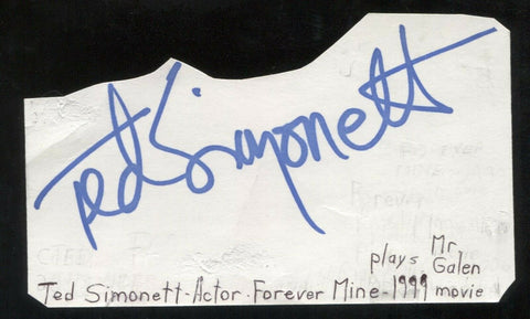 Ted Simonett Signed Cut 3x5 Index Card Autographed Signature Actor