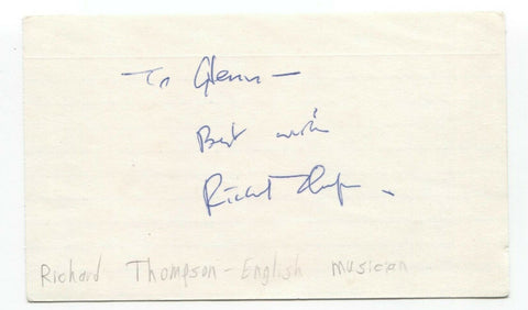 Richard Thompson Signed 3x5 Index Card Autographed Signature Singer Musician