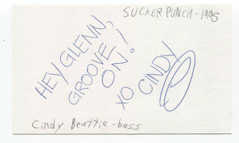 Sucker Punch - Cindy Beattie Signed 3x5 Index Card Autographed Signature