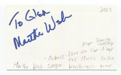 Martha Wash Signed 3x5 Index Card Autographed Signature C and C Music Factory