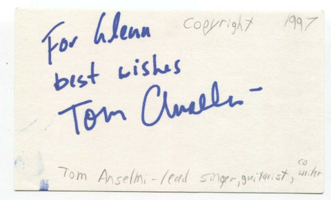Copyright - Slow - Thomas Anselmi Signed 3x5 Index Card Autographed Band