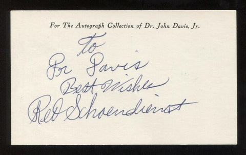 Red Schoendienst Signed 3x5 Index Card Autographed Vintage Baseball Hall of Fame