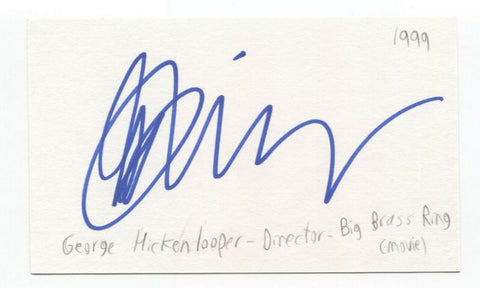 George Hickenlooper Signed 3x5 Index Card Autographed Signature Film Director