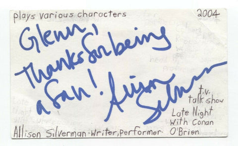 Allison Silverman Signed 3x5 Index Card Autograph Signature Writer Comedian