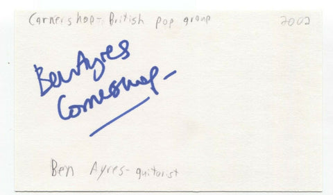 Cornershop - Ben Ayres Signed 3x5 Index Card Autographed Signature Band