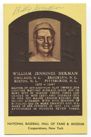 Billy Herman Signed Gold HOF Plaque Baseball Hall of Fame Autographed Postcard