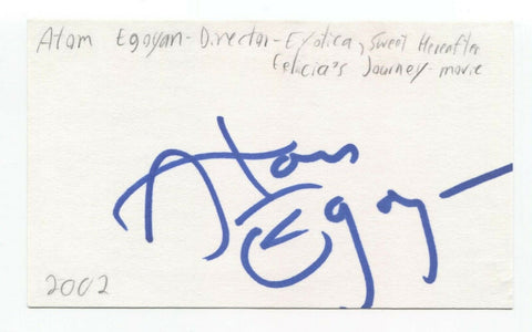 Atom Egoyan Signed 3x5 Index Card Autographed Signature Film Director