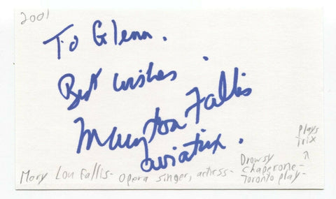 Mary Lou Fallis Signed 3x5 Index Card Autographed Signature Opera Singer