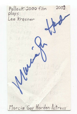 Marcia Gay Harden Signed 3x5 Index Card Autographed Signature Actress Pollock