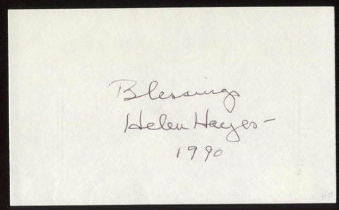 Helen Hayes Signed Index Card Signature Autographed AUTO