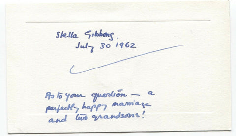 Stella Gibbons Signed Card Autographed Signature Novelist Cold Comfort Farm