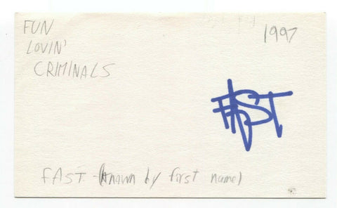 Fun Lovin' Criminals - Fast - Brian Leiser Signed 3x5 Index Card Autographed