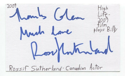 Rossif Sutherland Signed 3x5 Index Card Autographed Signature Actor