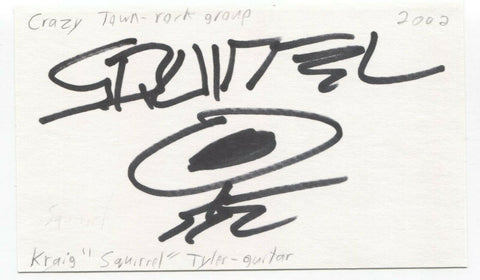 Crazy Town - Kraig Tyler Signed 3x5 Index Card Autographed Signature Band