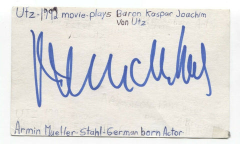 Armin Mueller-Stahl Signed 3x5 Index Card Autographed Signature Actor