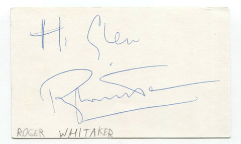 Roger Whittaker Signed 3x5 Index Card Autographed Signature Musician