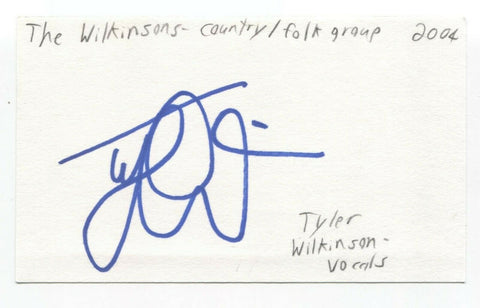 The Wilkinsons - Tyler Wilkinson Signed 3x5 Index Card Autographed Signature