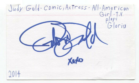 Judy Gold Signed 3x5 Index Card Autographed Signature Actress Comedian