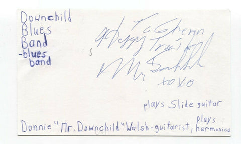 Downchild Blues Band - Donnie Walsh Signed 3x5 Index Card Autographed Signature