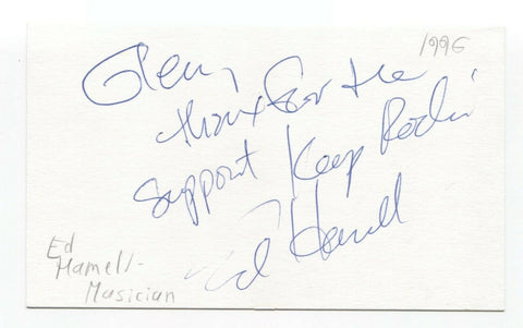 Hamell on Trial - Ed Hamell Signed 3x5 Index Card Autographed Signature