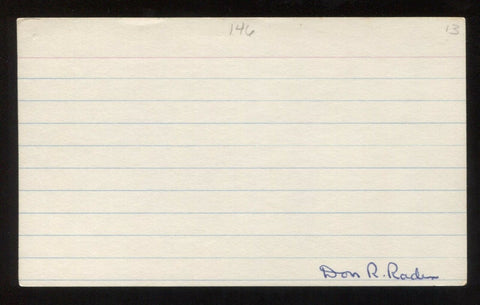 Don Rader Signed 3x5 Index Card Autographed Vintage Baseball Signature