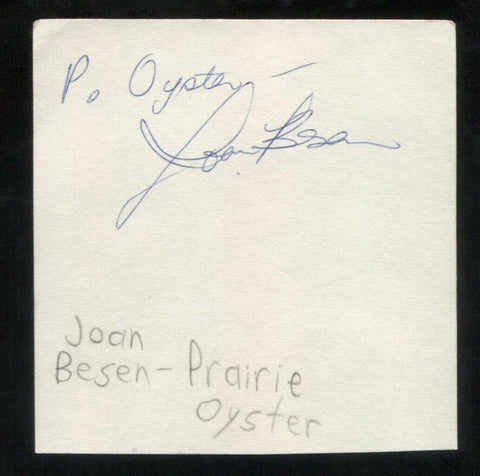 Prairie Oyster - Joan Besen Signed Cut 3x5 Index Card Autographed Band