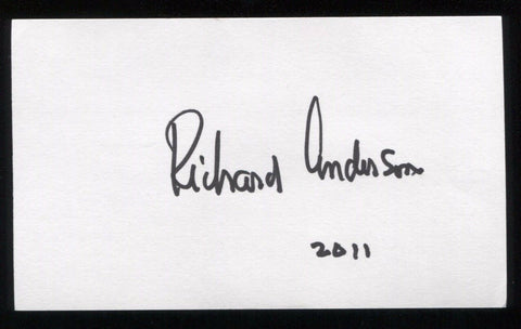 Richard Anderson Signed 3x5 Index Card Autographed The Six Million Dollar Man