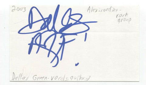 Alexisonfire - Dallas Green Signed 3x5 Index Card Autographed Signature