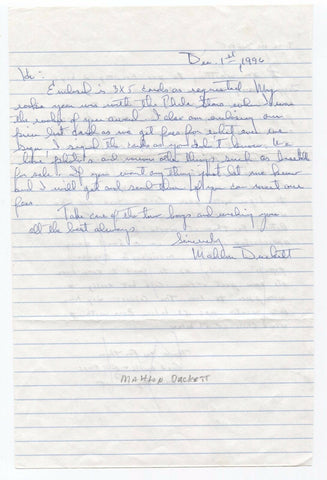 Mahlon Duckett Handwritten and Autographed Letter Negro League ALS signature