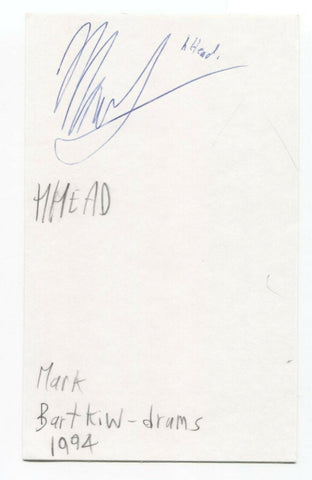 hHead - Mark Bartkiw Signed 3x5 Index Card Autographed Signature