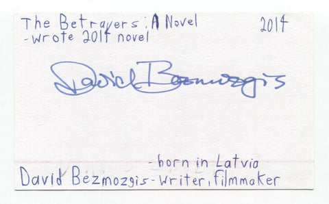 David Bezmozgis Signed 3x5 Index Card Autographed Film Director