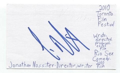 Jonathan Nossiter Signed 3x5 Index Card Autographed Signature Filmmaker
