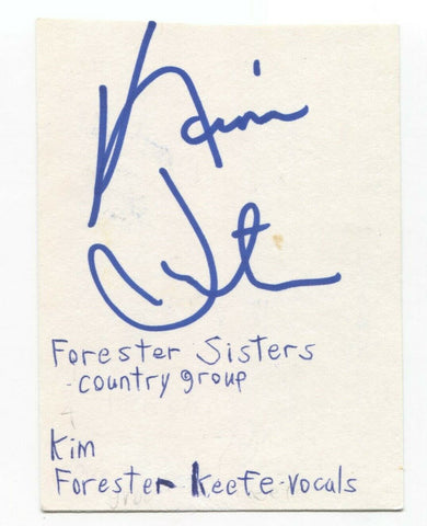 Forsester Sisters- Kim Forester Signed 3x5 Index Card Autographed Signature Band