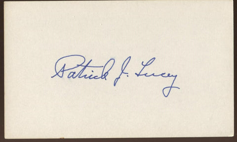 Patrick J. Lucey Signed Index Card 3x5 Autographed Signature AUTO Governor