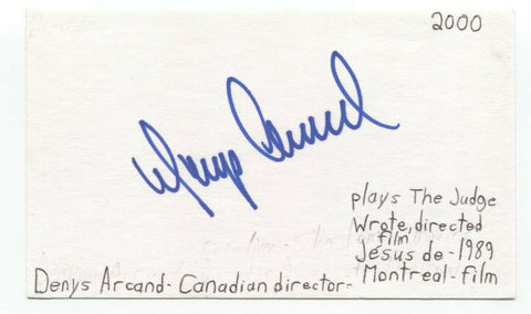 Denys Arcand Signed 3x5 Index Card Autograph Signature Director