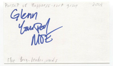 The Pursuit of Happiness - Moe Berg Signed 3x5 Index Card Autographed Band