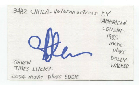 Babz Chula Signed 3x5 Index Card Autograph Signature Actress