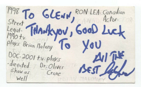 Ron Lea Signed 3x5 Index Card Autographed Signature Actor