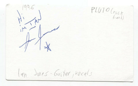 Pluto - Ian Jones Signed 3x5 Index Card Autographed Signature