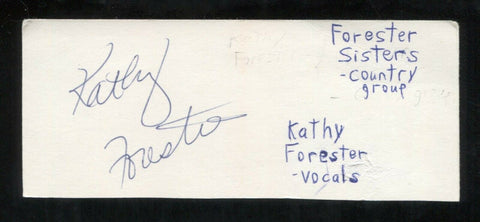 Kathy Forester Signed Cut 3x5 Index Card Autographed Signature Forester Sisters