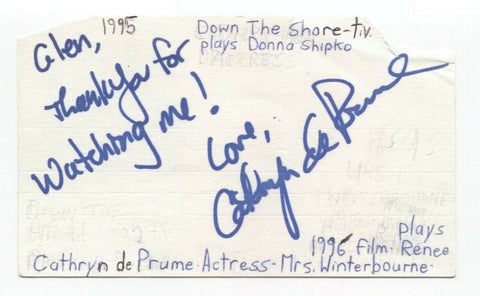 Cathryn de Plume Signed 3x5 Index Card Autographed Signature Actress True Blood