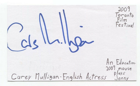 Carey Mulligan Signed 3x5 Index Card Autographed Actress Signature Doctor Who