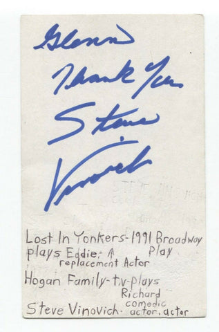 Steve Vinovich Signed 3x5 Index Card Autographed Signature Actor Star Trek