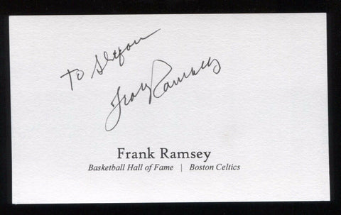Frank Ramsey Signed 3x5 Index Card Signature Autograph Basketball Hall of Fame
