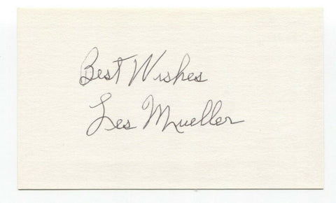 Les Mueller Signed 3x5 Index Card Baseball Autographed Signature
