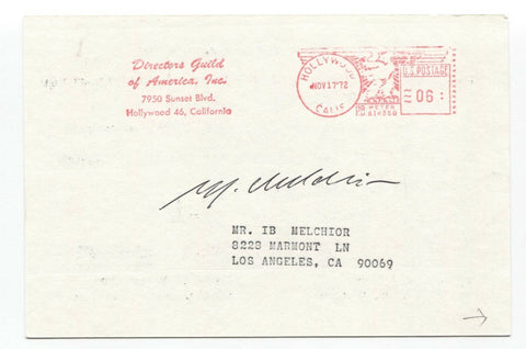 Ib Melchior Signed Card Autographed Science Fiction Writer Producer