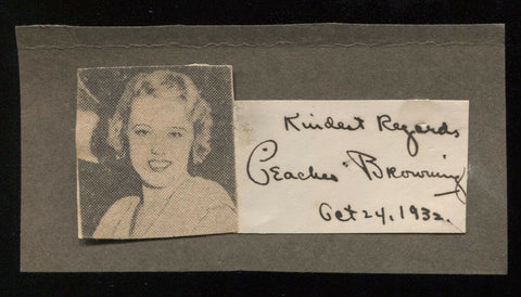 Peaches Browning Signed Cut Autographed Album Page w/ Magazine Photo 1932 AUTO