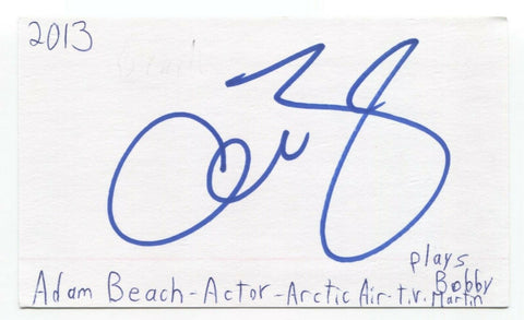 Adam Beach Signed 3x5 Index Card Autographed Signature Actor Suicide Squad