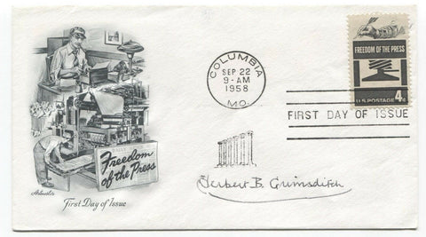 Herbert Grimsditch Signed FDC First Day Cover Autographed Author Signature