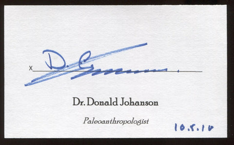 Donald Johanson Signed 3x5 Index Card Signature Autographed Paleoanthropologist